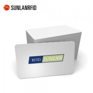 China SUNLANRFID Credit card size blank plain white pvc CR80 30mil plastic NFC card on sale
