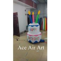 best giant birthday party decoration inflatable birthday cake with led lights for celebrate
