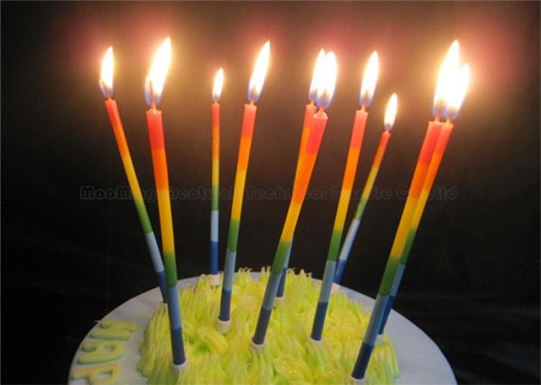 Color Gradient Long Thin Birthday Cake Candle Blue Green Yellow Red Orange Images