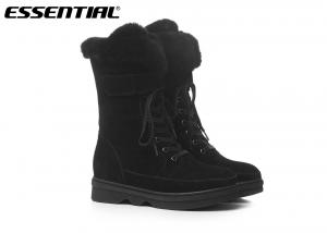 China Cool Weather Ladies Cow Suede Boots Tall Mid Calf Height 36 - 41 Size on sale