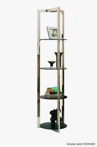 Quality Modern Glass Bookcase , Metal Glass Bookshelf Of Sitting Room Furniture , Corner showcase for sale