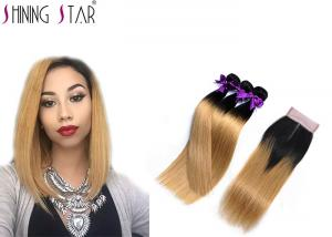 China Human Hair Bundlles 3Pcs Ombre Blonde Straight Human Hair With Closure Color 1B27 Hair Weave supplier