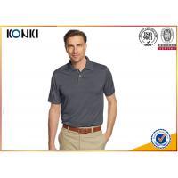 Mature Custom Mens Polo Shirts Grey Color / Pink Color Dri Fit Polo Shirts