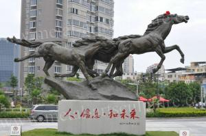China Handmade Large Bronze Horse Statue , Life Size Bronze Statues Yard Ornaments on sale