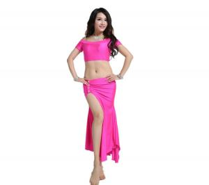 China High-elastic Spandex Belly Dancer Wear with Short Top and Long Wrap Skirt on sale