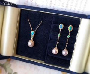 China Akoya Pearl Fine Gemstone Jewelry , 18K Gold Gemstone Jewelry Sets With Diamond on sale