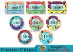 40 / 43mm Diameter Ceramic Casino Chips Bright Colors With Custom Printed Design