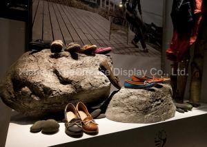 China Artificial Window Display Decorations Fiberglass Stone Shape Shoe Display Racks on sale
