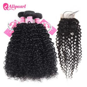 China No Tangle Brazilian Curly Hair Bundle Deals With 4×4 Inches Lace Closure on sale
