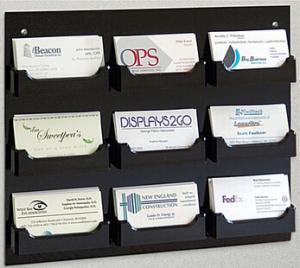 China 9-Pocket Acrylic Business Card Holder for Wall, Open Pockets Fit 60 Cards on sale