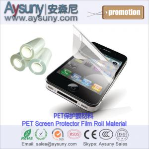 China 3H hardness Silicon adhesive Cellular phone PET screen protector film roll material on sale