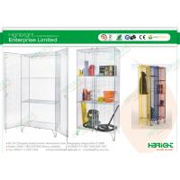China Double Doors Supermarket Shelf Display , Zinc Wire Mesh Cupboard With 2 Shelves on sale