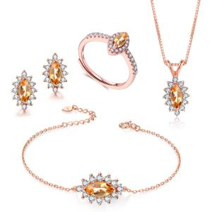 China Citrine 925 Silver Gemstone Jewelry Set Pendant Necklace Bracelet Ring Earrings on sale