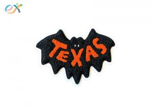 China Custom Hoodies chenille letter patches Black Orange Laser Cut Embroidery TEXAS Towel Chenille Patch Logo on sale