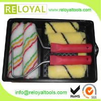 """7"""" acrylic paint roller color stripe style pile 11 mm and paint tray set"""