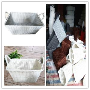 China PP Rattan Eco-Friendly OEM plastic durable wicker laundry storage basket,wicker basket on sale