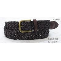 Polyester / PU Black Mens Woven Belts , Wax Rope Mens Brown Braided Belt