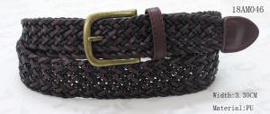 China Polyester / PU Black Mens Woven Belts , Wax Rope Mens Brown Braided Belt on sale