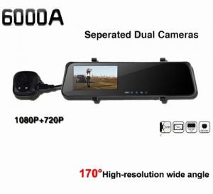 China A6000A Car Rear View Mirror Camera A10 Chip 4.3 Inch TFT LCD G-sensor Dual lens No GPS Get Vehicle Accident Report on sale