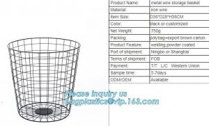 China Wholesale china trade decorative laundry metal wire material storage basket, Storage Metal Wire Fruit Basket hanging wir on sale