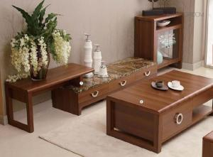 China Classic Living Room Furniture Sets / Wall Unit Coffee Table Walnut Color on sale