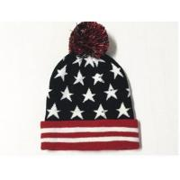 100% Acrylic 24*20cm Weight 96g with Pompom Black Red The Stars Knitting Cheap Cool Fashion winter knitting Hats
