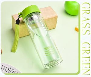 China Insulated Shatterproof Green Double Wall Glass Water Bottle Healthy For Drink on sale