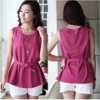 China Chiffon Sleeveless O-Neck Womens Casual Clothing Outfits For Fashion Ladies on sale