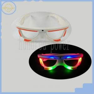 China Concert Led Flashing Glasses Light Up Party Sunglasses White And Orange on sale