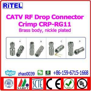 China CATV RF Connectors Drop Connector Crimp connector for RG59/RG6 on sale