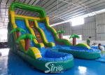 25' high tropical double lane inflatable water slide with double pool from China inflatable manufacturer