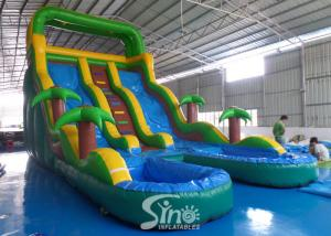 China 25' high tropical double lane inflatable water slide with double pool from China inflatable manufacturer on sale