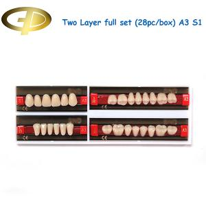 China Dental Synthetic Resin Teeth Two-Layer A3 Shade Full Mouth Set S1 Moulds on sale