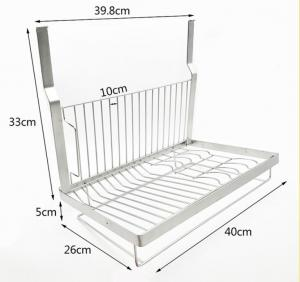 China Kitchen Wall Mounted Dish Drying Shelf 304 Stainless Steel Sliver Color on sale