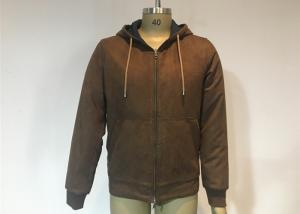 China Mens Qulited And Ribbed Suede Bomber Coat Anti Wind Pu Hooded Jacket on sale