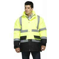 Two Tone Motorway Reflective Winter Work Coats With Heavy Duty Two Way Zip