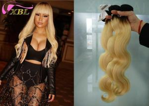 China From 12 inch to 26 inch Ombre Blonde Brazilian Body Wave Human Hair Weave #1b/613 Colored on sale