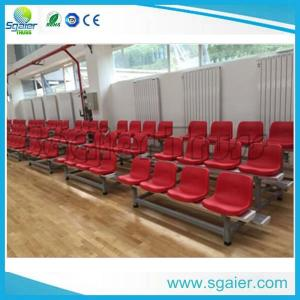 China University Tiered Seating Aluminum Stadium Bleachers Mobile With Red Chair / Wheel on sale