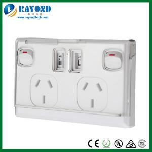 China Double AUS&NZS Switched General Power Outlets with 5V/1A+5V2.1A Twin USB Charging Ports on sale