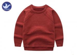China High Low Reglan Long Sleeves Boys Knit Pullover Sweater Crew Neck Side Slit on sale