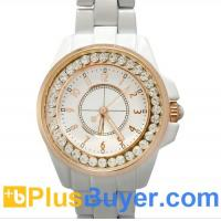 China White Bling Diamond Analog Watch for Girls with Gold Rim and Stainless Steel Backing on sale