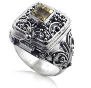 China Brass Base Antique Fashion Jewelry Rings Victorian / Medieval Poison on sale