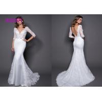 3/4 Sleeve Backless Mermaid Style Wedding Dress Lace And Satin Sheath V Neckline