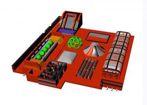 China OEM Orange Indoor Slide Inflatable Trampoline Park With Obstacle on sale