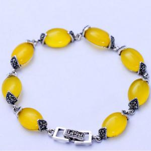 China Thai 925 Vintage Sterling Silver Yellow Cubic Zircoina Tennis Bracelet (055728) on sale