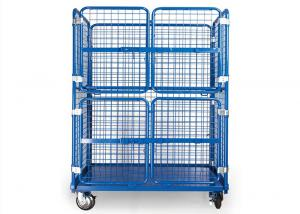 China Steel Wire Warehouse Cage Trolley Collapsible Rolling Security Cage High Strength on sale