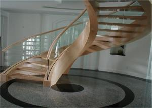 China Interior Building Curved Stairs Wooden Staircase With 12mm Tempered Glass Balustrade on sale