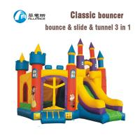Amusement Park Jumping Bounce House With Tunnel Anti UV No Fading