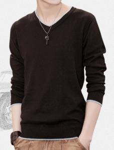 China Long-sleeved t-shirt men's V-neck t-shirt youth solid color cotton T-shirt men on sale