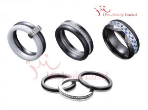 China Custom Micro Pave Sterling Silver Jewelry Sets Cubic Zirconia Bridal Black Ceramic Rings on sale